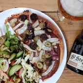 Fennel, olive and vegan chorizo pizza