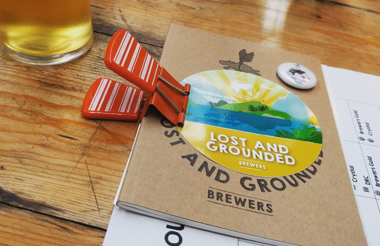 Lost and Grounded Brewers notebook and sticker